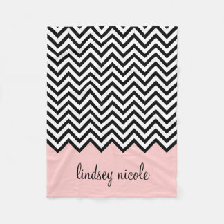 Blankets - Black and Pink Chevron Custom Monogram Fleece Blanket