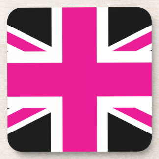 Black and Pink Classic Union Jack British(UK) Flag Coasters