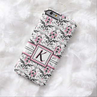 Black and Pink Damask Monogram Barely There iPhone 6 Case
