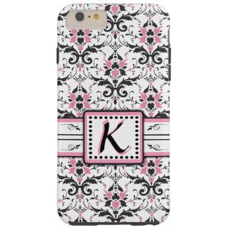 Black and Pink Damask Monogram Tough iPhone 6 Plus Case