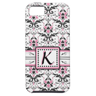 Black and Pink Damask Monogram iPhone 5 Cases