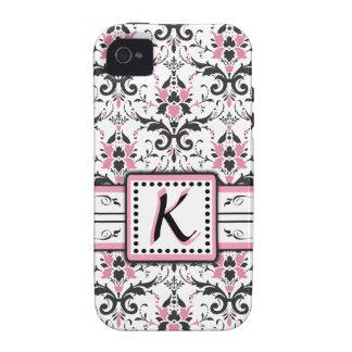 Black and Pink Damask Monogram Vibe iPhone 4 Case