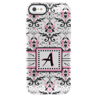 Black and Pink Damask Monogram Clear iPhone SE/5/5s Case