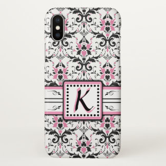 Black and Pink Damask Monogram iPhone X Case