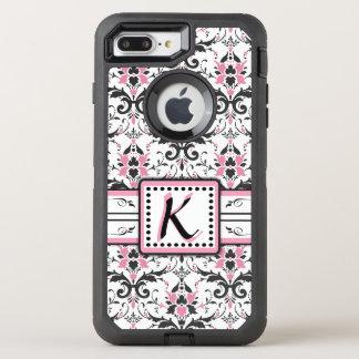 Black and Pink Damask Monogram OtterBox Defender iPhone 7 Plus Case