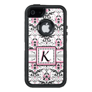 Black and Pink Damask Monogram OtterBox iPhone 5/5s/SE Case