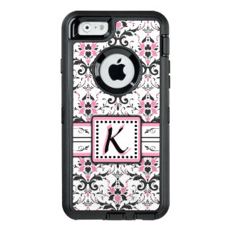 Black and Pink Damask Monogram OtterBox iPhone 6/6s Case