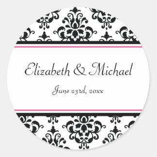 Black and Pink Damask Round Wedding Favor Label