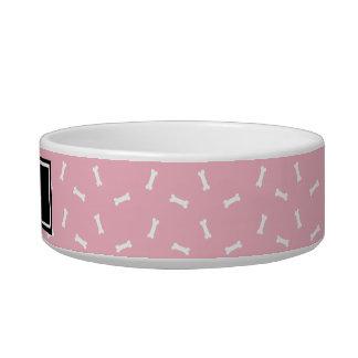 Black and Pink Dog Bones Personalized Dog Dish