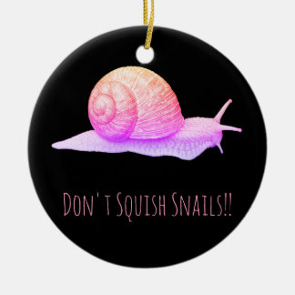 Black and Pink Don't Squish Snails Ceramic Ornament