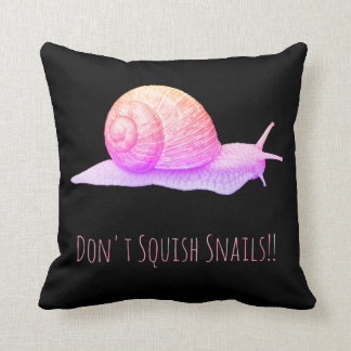 Black and Pink Don't Squish Snails Throw Pillow