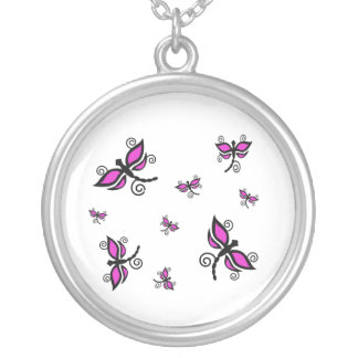 Black and pink dragonflies necklace