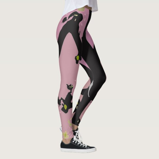 Black and Pink Flip Flop Design Leggings