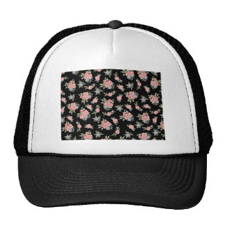 Black and Pink Floral Rose pattern Trucker Hat
