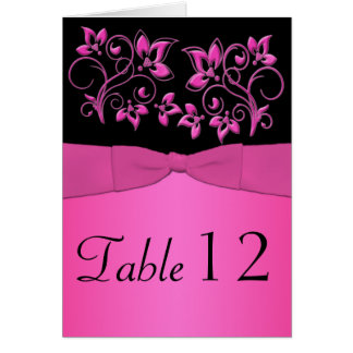 Black and Pink Floral Table Number Card