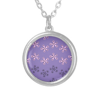 Black and pink flowers silver plated necklace