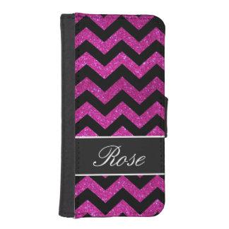 Black and Pink Glitter Chevron Monogram wallet cas Phone Wallet