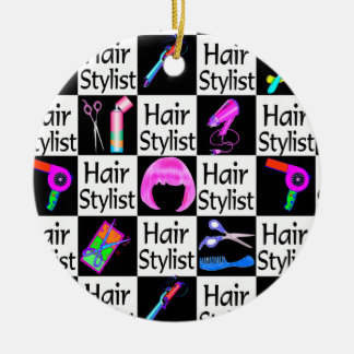 BLACK AND PINK HAIR STYLIST CHRISTMAS ORNAMENT