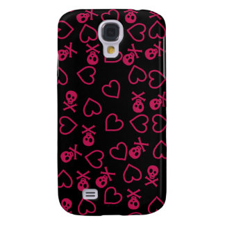 Black and pink hearts and skulls