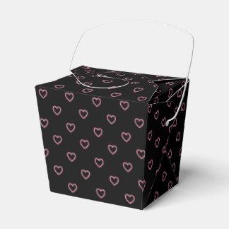 Black And Pink Hearts Polka Dot Pattern Favor Box