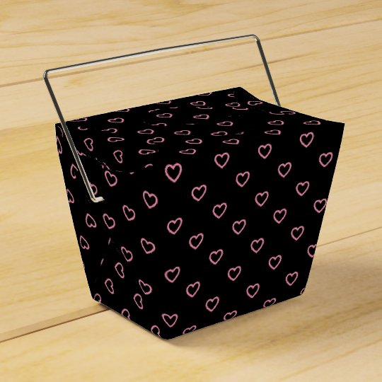 Black And Pink Hearts Polka Dot Pattern Favour Box Party Favor Boxes