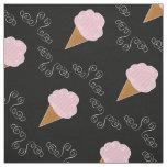 Black and Pink Ice Cream Cone Swirls Fabric