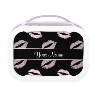 Black and Pink Kisses Lunch Box