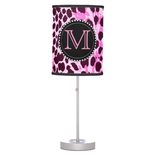 Black and Pink Leopard Print Custom Monogram girly Desk Lamps