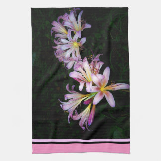 Black and Pink Lily Kitchen Towel