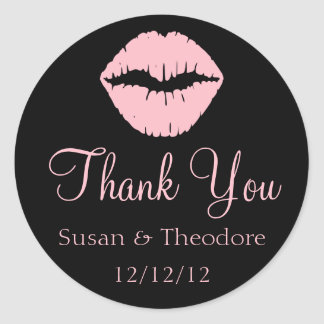 Black and Pink Lips Thank You Classic Round Sticker