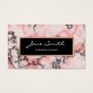 Black and Pink Marble, Faux Gold Foil Business Card