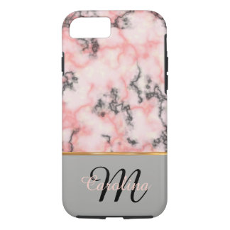 Black and Pink Marble,  Name and Monogram iPhone 8/7 Case