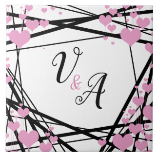 Black and Pink Monogram Decoration Tile