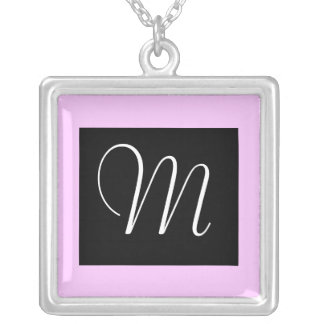 Black and pink monogram necklace