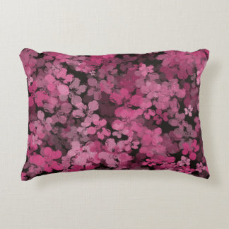 Black And Pink Night Flower Shower Accent Pillow