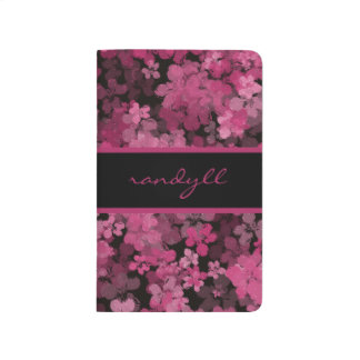 Black And Pink Night Flower Shower Pocket Journal