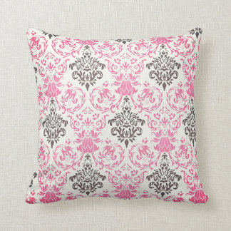 Black And Pink Ornamental Pattern Throw Pillow