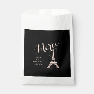 Black and Pink Paris Wedding with Eiffel Tower Favour Bag