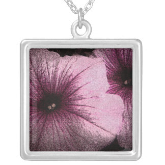 black and pink petunia square pendant necklace