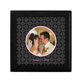 Black and Pink Photograph Tile Box Trinket Box