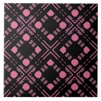 Black and pink plaid tile