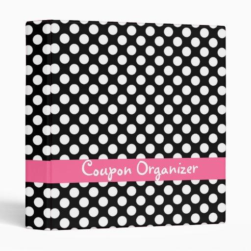 Black and Pink Polka Dot Coupon Organizer 3 Ring Binder