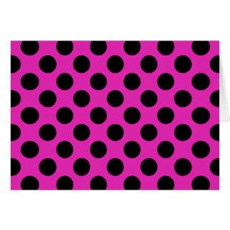 Black and Pink Polka Dots Greeting Card