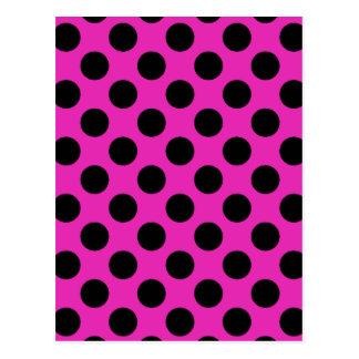 Black and Pink Polka Dots Postcard