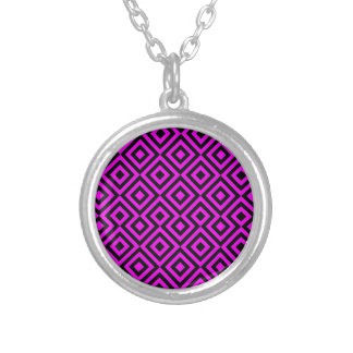 Black And Pink Square 001 Pattern Round Pendant Necklace