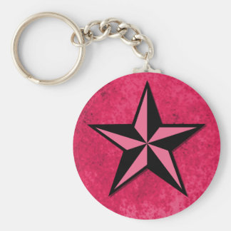 Black and Pink Star Keychain
