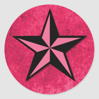 Black and Pink Star Classic Round Sticker