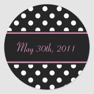 Black And Pink Sweet Sixteen Date Envelope Seal Round Sticker