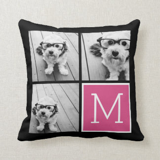 Black and Pink Trendy Photo Collage with Monogram Throw Pillow