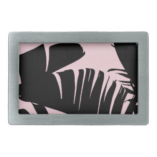 Black and Pink Tropical Banana Leaves Pattern Rectangular Belt Buckle